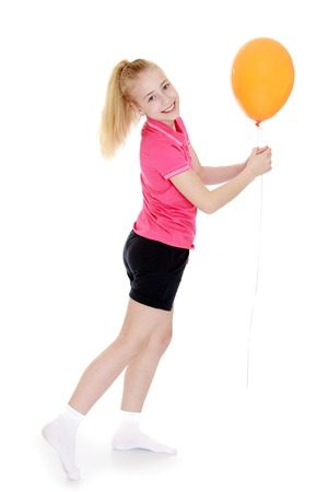 white tail: Charming teen girl with a long white tail holding a balloon in front of him-isolated on white background