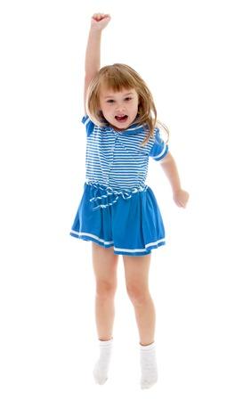 pin up vintage: La bambina che salta alzando il braccio - isolato su sfondo bianco