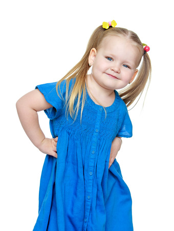 chubby girl: Adorable little chubby girl blonde, close-up - isolated on white background Stock Photo