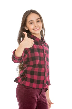 dark haired: Portrait of beautiful dark haired teen girl showing gesture of praise - isolated on white background