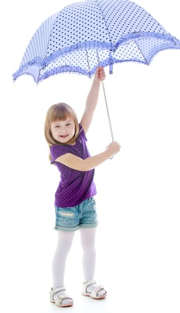 whose: Rainy weather is not terrible, the girl whose holding the umbrella - isolated on white background