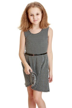 dressy: Beautiful dressy blonde girl in a gray silk dress - isolated on white background