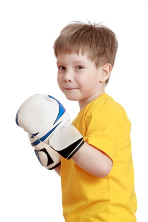 boxing boy: Fair-haired little boy in Boxing gloves, close-up - isolated on white background