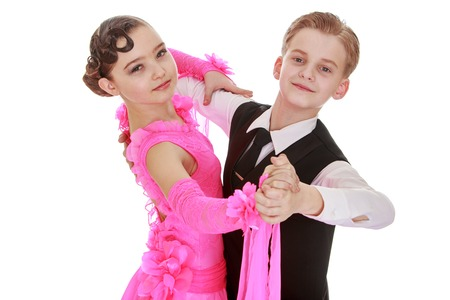 Beautiful youth dance couple, the children speak at the event , close-up-Isolated on white