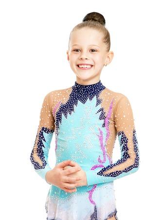 gymnastik: Schöne junge Turnerin in einem hellen Trainingsanzug, close-up-Isoliert auf weißem Hintergrund