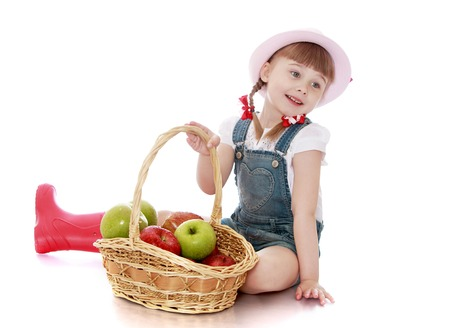 fresh girl: Cute little girl at my grandparents in the country has collected a basket of red apples , apples are very juicy and fresh girl very happy-Isolated on white background Stock Photo