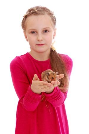 jolie fille: Cute petite fille en robe longue rouge tient en face de lui-même sur les paumes de sa bien-aimée animal hamster isolé sur fond blanc