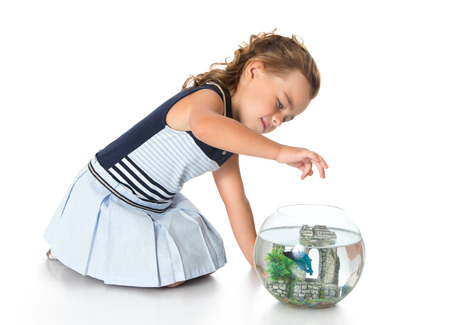 blue fish: Beautiful little girl in a blue dress feeding a Fish that swims in a fishbowl-Isolated on white background