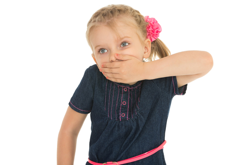 hands over ears: Frightened little blonde girl covering her mouth by hand. Closeup -Isolated on white background