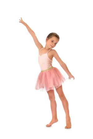 ballerina costume: Charming slender little girl in a pink ballerina costume - Isolated on white background