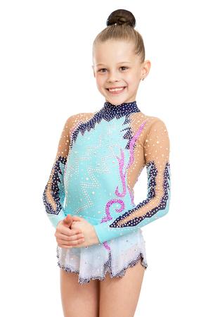 petite fille avec robe: Slim fille gymnaste habill� en maillot de bain de sport. Gros plan - Isol� sur fond blanc Banque d'images