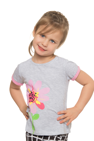 messy hair: Funny little blonde girl with messy hair. Closeup - Isolated on white background
