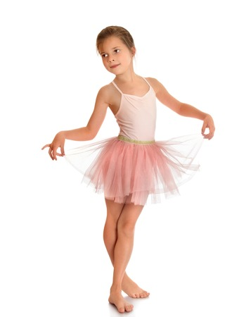 ballerina costume: Flexible little charming ballerina in a pink dress - Isolated on white background Stock Photo