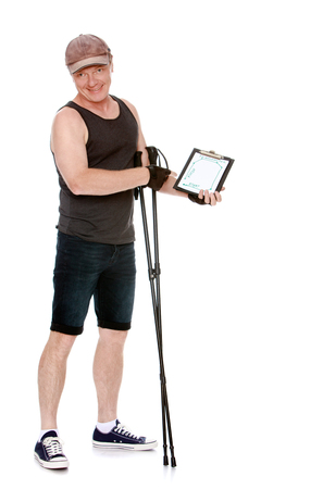 mileage: A middle-aged man in a sports t-shirt and shorts is engaged in Nordic walking. Holding a walking stick. It shows a map which shows the route and mileage that he has.-Isolated on white background Stock Photo