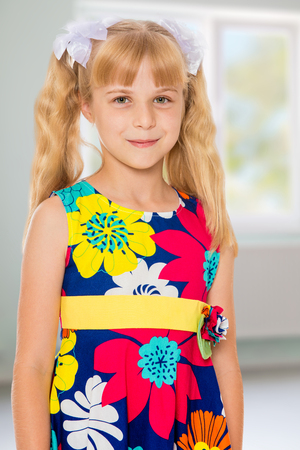 ponytails: Sweet, adorable little girl with long blonde ponytails on her head tied with white bows. Stock Photo