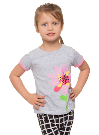 white pants: Little girl wearing plaid pants . close-up - Isolated on white background