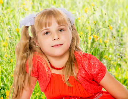 A very beautiful little girl with long, blonde ponytails on her head in a bright orange dress . close-up.On the background of green grass and yellow wild flowers, blurring the background.