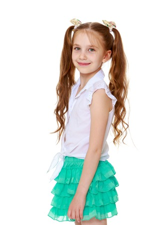 ponytails: Skinny little girl with long hair braided into ponytails. Close-up-Isolated on white background