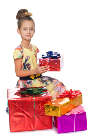 dressy: Dressy girl holds box with gift - Isolated on white background