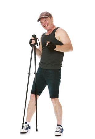 adulthood: The concept of sports lifestyle and maintenance of health in adulthood. Fifty-year-old man, engaged in Nordic walking with special poles. Isolated on white background