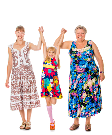 three generations of women: Mother, young daughter and beloved grandmother to hold hands-Isolated on white background