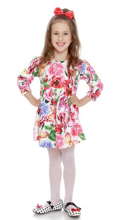 Summer dress baby girl laughing