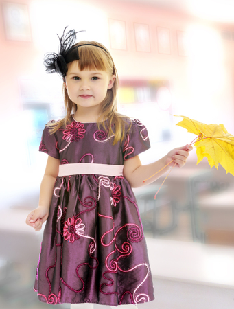 The concept of raising a child in the family, school and kindergarten. In the class where there are school desks.Adorable little girl holding a maple leaf.