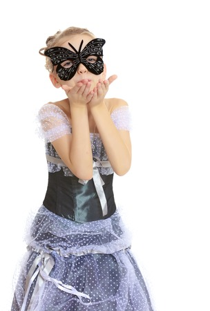 Little girl Princess carnival mask. Stock Photo
