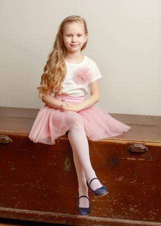 Beautiful little girl 5-6 years. Stock Photo