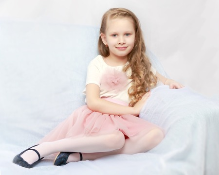 Beautiful little girl 5-6 years. Stock Photo