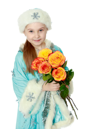 nude little girls: Girl Snow Maiden with a bouquet of flowers.
