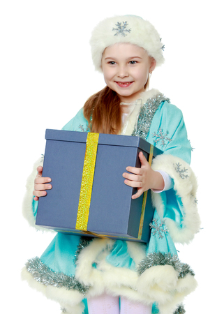 Girl Snow Maiden with a gift in hands
