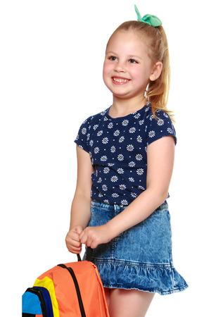 Petite écolière avec des fleurs Banque d'images - 89959435
