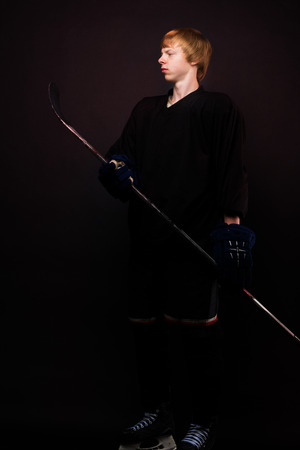 Young guy hockey player