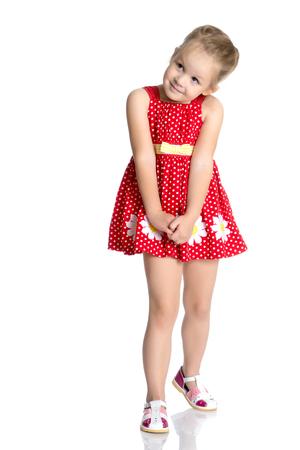The little girl is full-length. 版權商用圖片