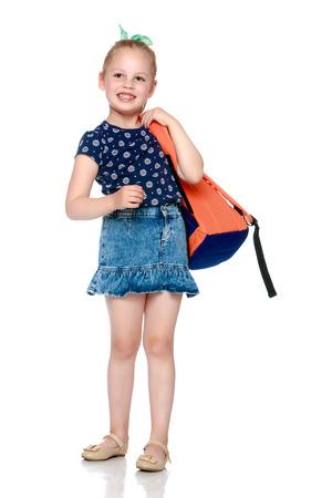 Little girl schoolgirl with flowers Banco de Imagens