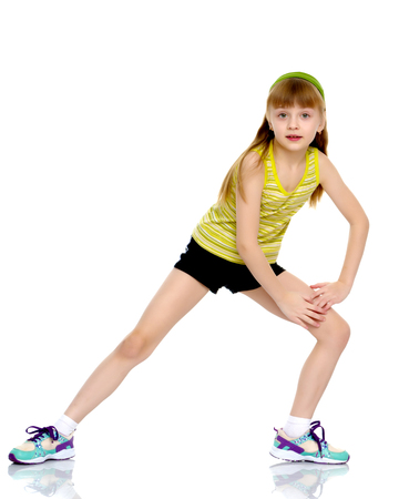The gymnast prepares to perform the exercise. Standard-Bild - 97782496