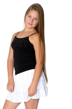 Un adolescente en un vestido corto . Foto de archivo - 97119718