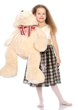 Petite fille avec ours en peluche Banque d'images - 97429248