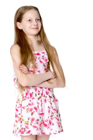 Portrait of a little girl close-up.