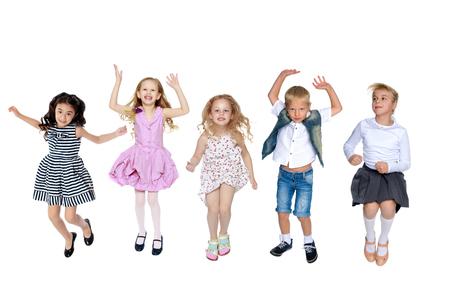 Collage, happy children jump Stock Photo