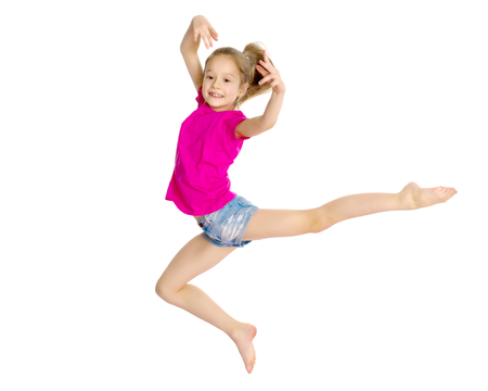 Girl gymnast jumping.