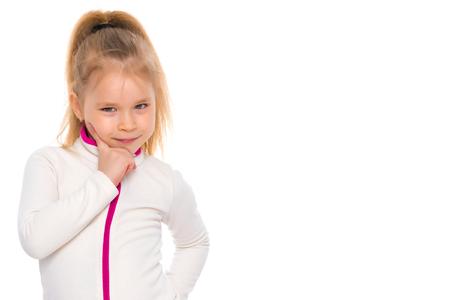 The little girl thinks. Stock Photo - 99535489