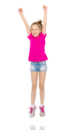 Mädchen Turner springen Standard-Bild - 99457649