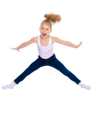 Girl gymnast jumping. Standard-Bild - 101309313