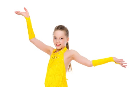 Little girl gymnast close-up. Standard-Bild