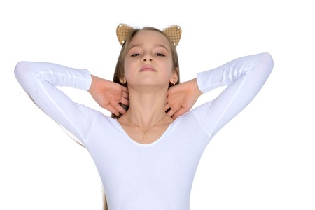 A teenage girl in a short dress. Stockfoto