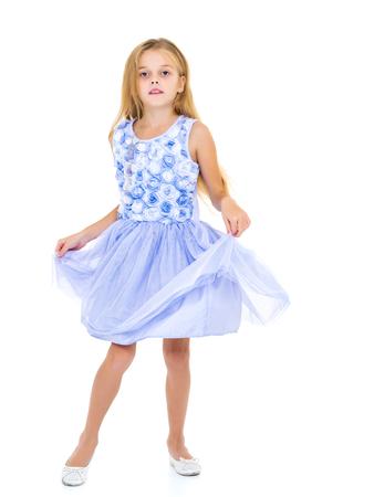 The little girl is full-length. Banco de Imagens