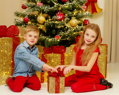 Boy and girl near the Christmas tree.
