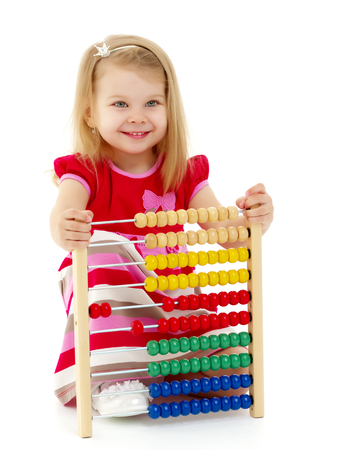 The girl counts on abacus Stok Fotoğraf